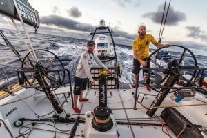"October 19, 2014.Leg 1 onboard Abu Dhabi Ocean Racing: Ian Walker and Phil Harmerenjoying some big waves and breeze as ""Azzam"" turned South towards the Doldrums."